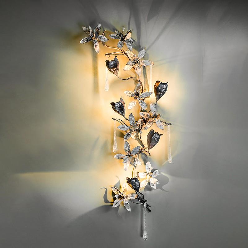 applique tralcio tulipani with crystal 5 lights art